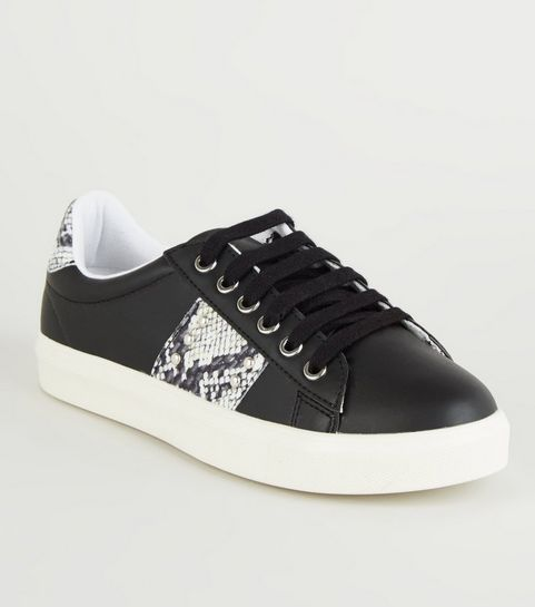ce01daf8d2e2f ... Black Faux Snake Panel Lace Up Trainers ...