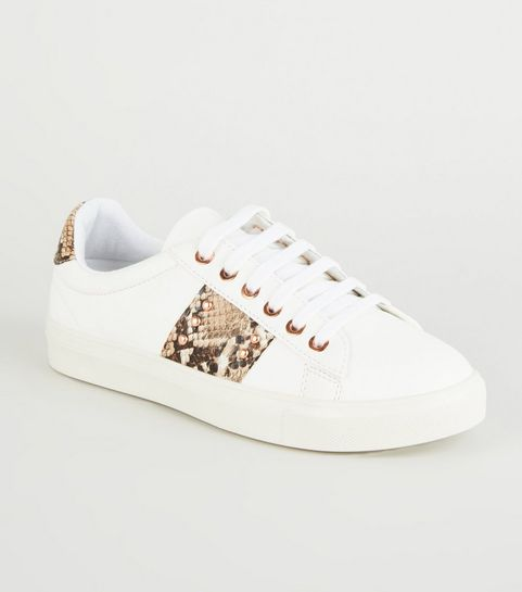 3f932ccbed9 ... White Faux Snake Panel Lace Up Trainers ...