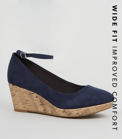 26308e89d2a ... Wide Fit Navy Suedette Cork Wedge Heels ...