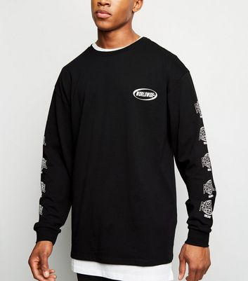 Black Worldwide Slogan Printed Sleeve T-Shirt