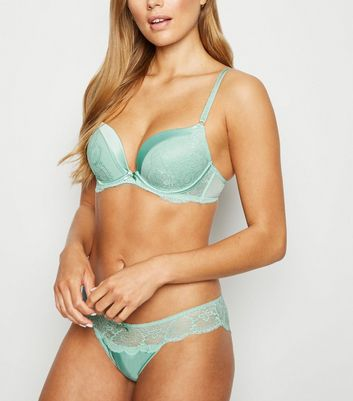 Mint Green Satin Lace Push-Up Bra