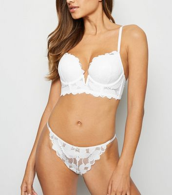 White Leaf Lace Tanga Briefs