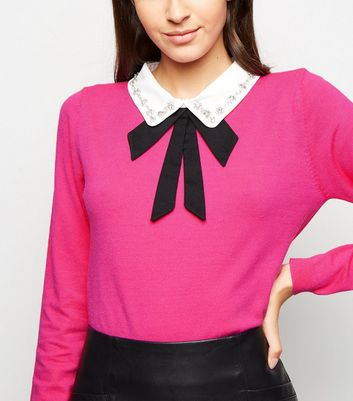 Blue Vanilla Deep Pink Diamanté Collar Jumper