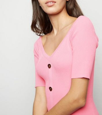 shop for Pink Vanilla Pink Button Front Bodycon Dress New Look at Shopo