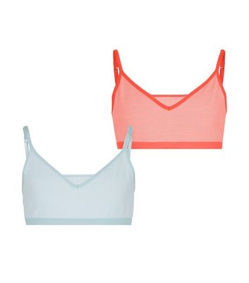 Girls 2 Pack Blue and Pink Neon Stripe Crop Top