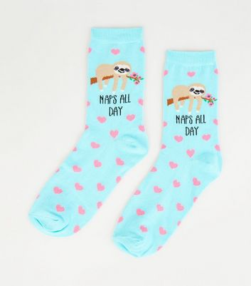 Turquoise Naps All Day Sloth Socks