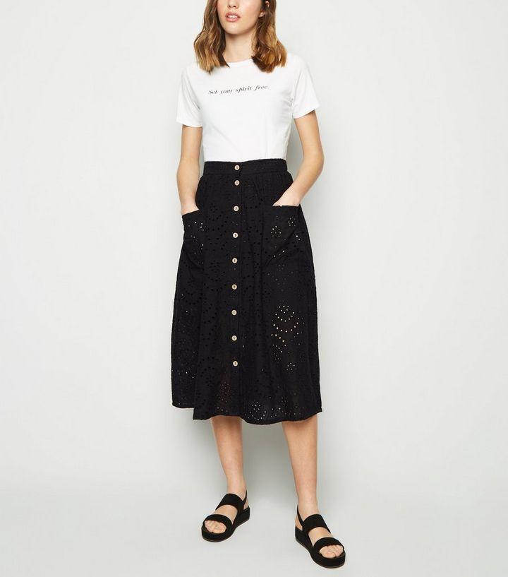 096c2bc982 Black Broderie Pocket Font Midi Skirt | New Look