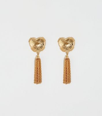 Gold Embossed Drop Chain Heart Earrings