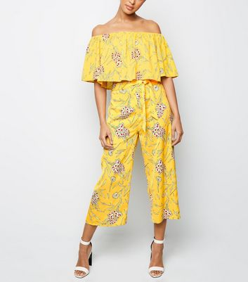 Cameo Rose Yellow Floral Belted Culottes