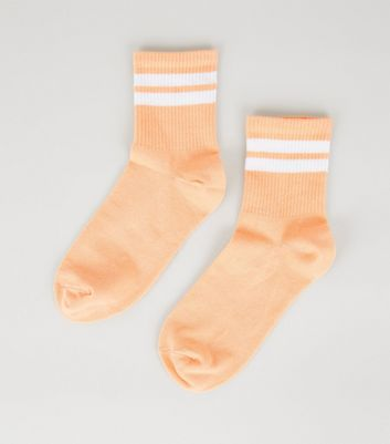 Coral Stripe Tube Socks