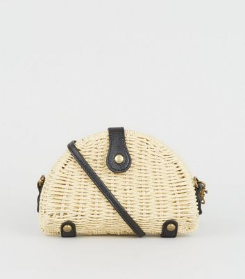 Cream Straw Effect Cross Body Bag