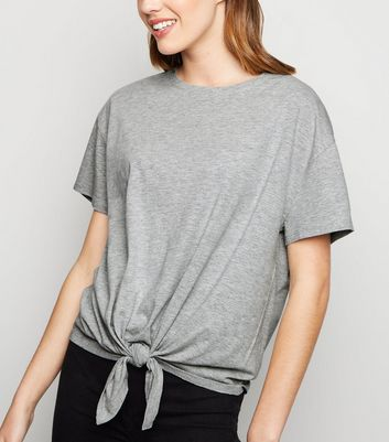 Grey Organic Cotton Blend Tie Front T-Shirt