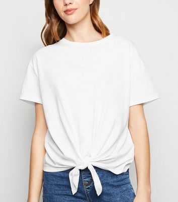 White Organic Cotton Tie Front T-Shirt