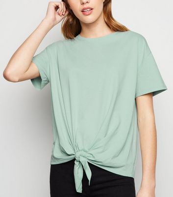 Mint Green Tie Front Crew T-Shirt