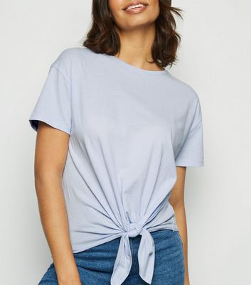 Pale Blue Organic Cotton Tie Front T-Shirt