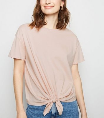 Pale Pink Organic Cotton Tie Front T-Shirt