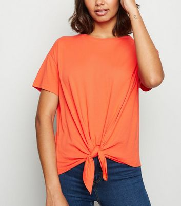 Orange Organic Cotton Tie Front T-Shirt