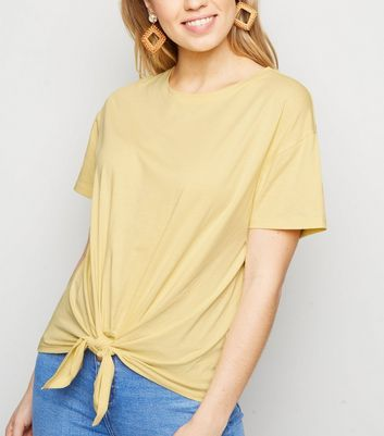 Pale Yellow Organic Cotton Tie Front T-Shirt