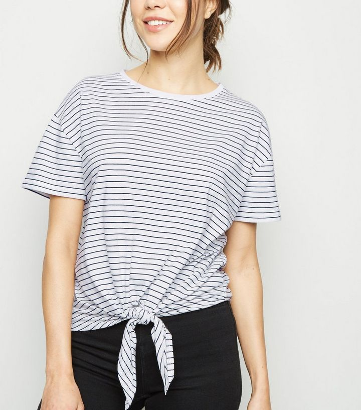 948af42e83 White Stripe Tie Front T-Shirt | New Look