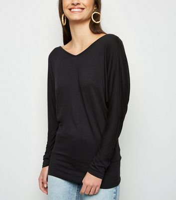 Black V Neck Long Batwing Sleeve Top
