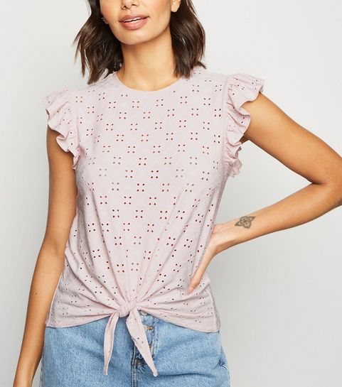 57491b1f13 ... Pink Broderie Tie Front Frill Trim Top ...