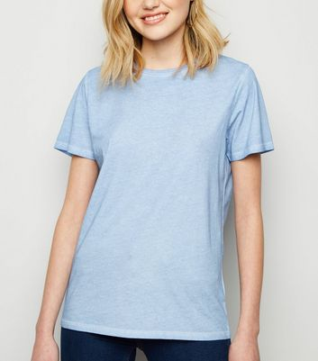 Pale Blue Bleach Wash T-Shirt