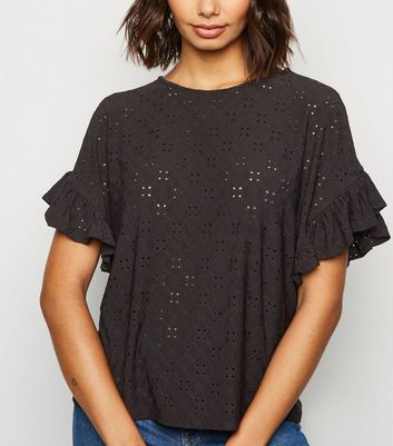 Black Broderie Oversized Frill Sleeve Top