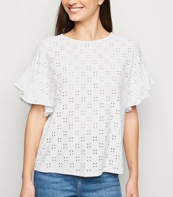 White Broderie Oversized Frill Sleeve Top