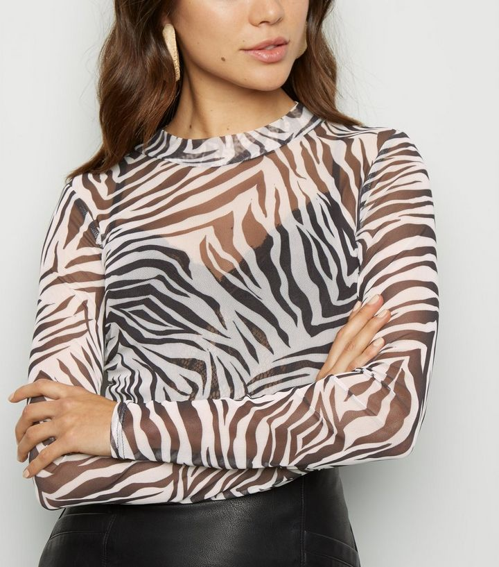 best quality for luxury aesthetic exquisite style Black Zebra Print Mesh Long Sleeve Top Add to Saved Items Remove from Saved  Items