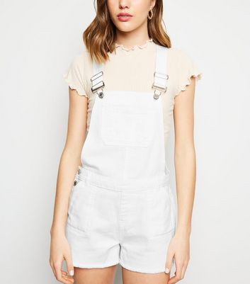 White Denim Short Dungarees