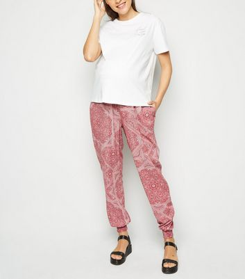 Maternity Red Paisley Joggers