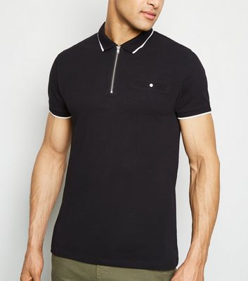 Black Tipped Zip Front Polo Shirt