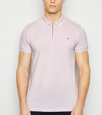Lilac Tipped Zip Front Polo Shirt