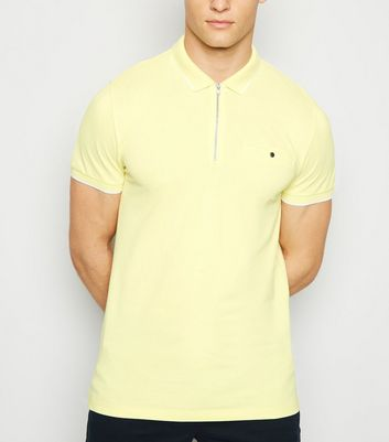 Pale Yellow Tipped Zip Front Polo Shirt