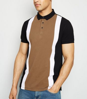 Camel Colour Block Polo Shirt