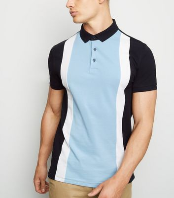 Pale Blue Colour Block Polo Shirt