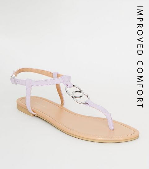 3026fe518584 ... Lilac Ring Strap Flat Sandals ...