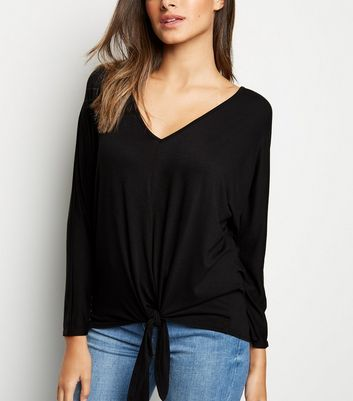 Black Tie Front Batwing Sleeve Top