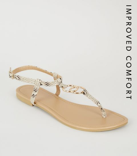 5f37a242f ... Stone Faux Snake Ring Strap Flat Sandals ...