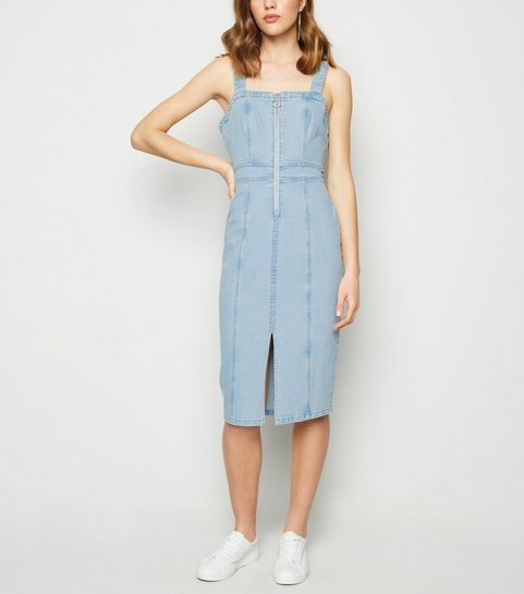 70ce7960f98 ... Blue Ring Zip Denim Midi Dress ...