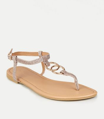 Rose Gold Diamanté Ring Strap Flat Sandals