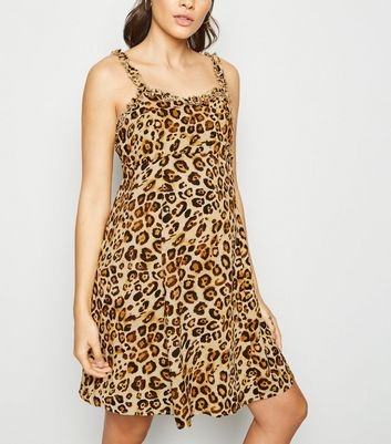 Maternity Brown Leopard Print Skater Dress