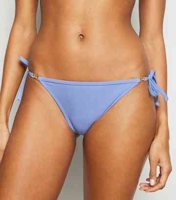 Lilac Embellished Tie Side Bikini Bottoms