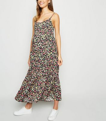 Maternity Black Floral Tiered Midi Dress