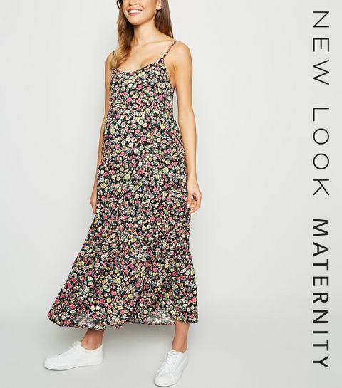 aa13f1d2386 ... Maternity Black Floral Tiered Midi Dress ...