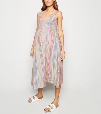Maternity White Stripe Linen Look Midi Dress