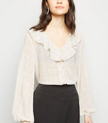 White Spot Print Frill Button Front Blouse