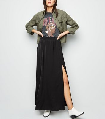 Black Satin Side Split Maxi Skirt