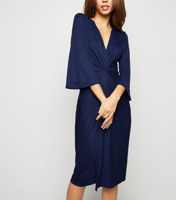 Blue Vanilla Navy Twist Front Midi Dress