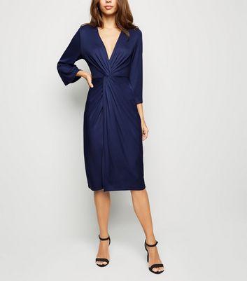 shop for Blue Vanilla Navy Twist Front Midi Dress New Look at Shopo